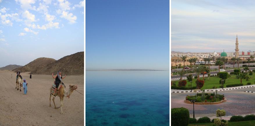 Op kamelentocht, het heldere water van de Rode Zee en het centrum van Hurghada. © Sien Loockx