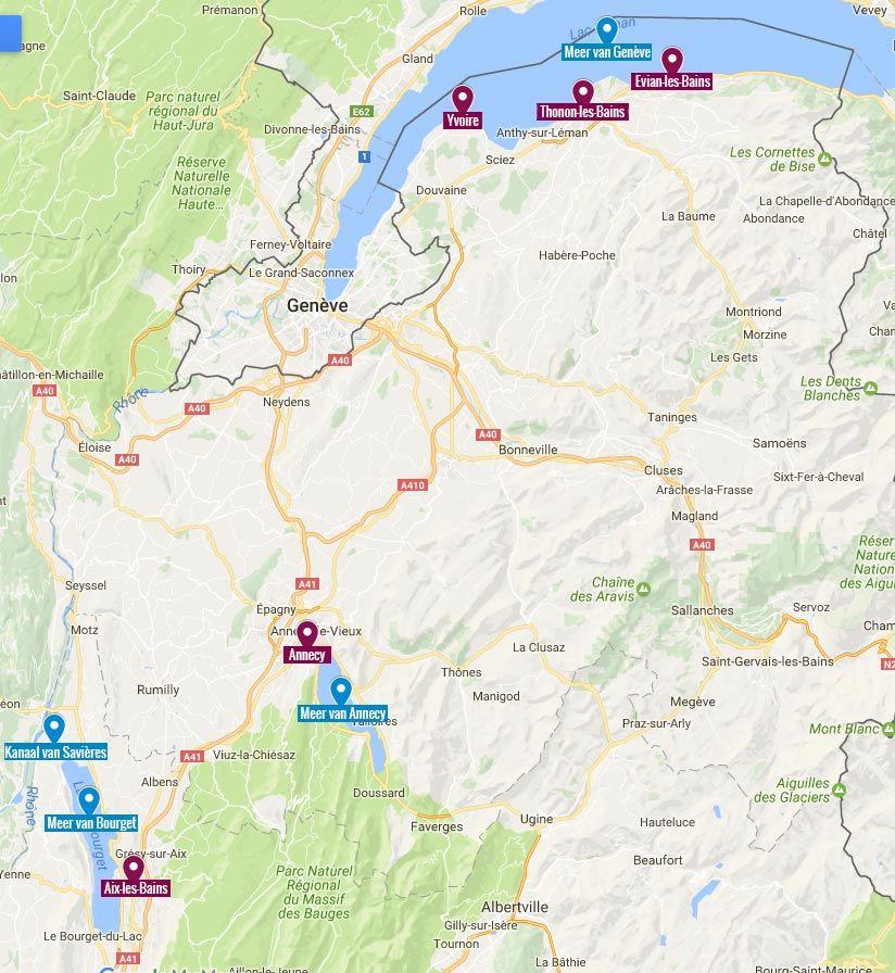 De Haute-Savoie in kaart: de voornaamste plekken en meren.