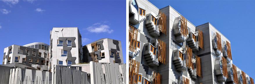 Details van het Schotse Parlement in Edingburgh