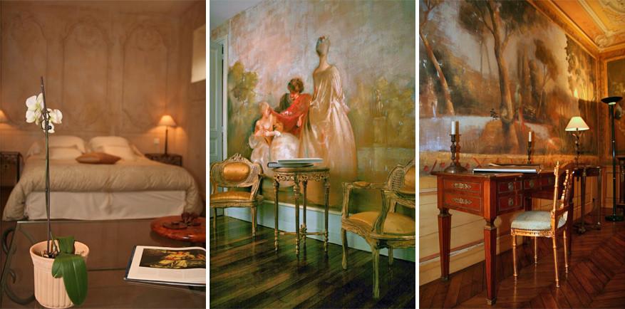 Luxueuze muurschilderingen, veel details en bijpassende meubels. Het plaatje klopt in La Villa des Arts.