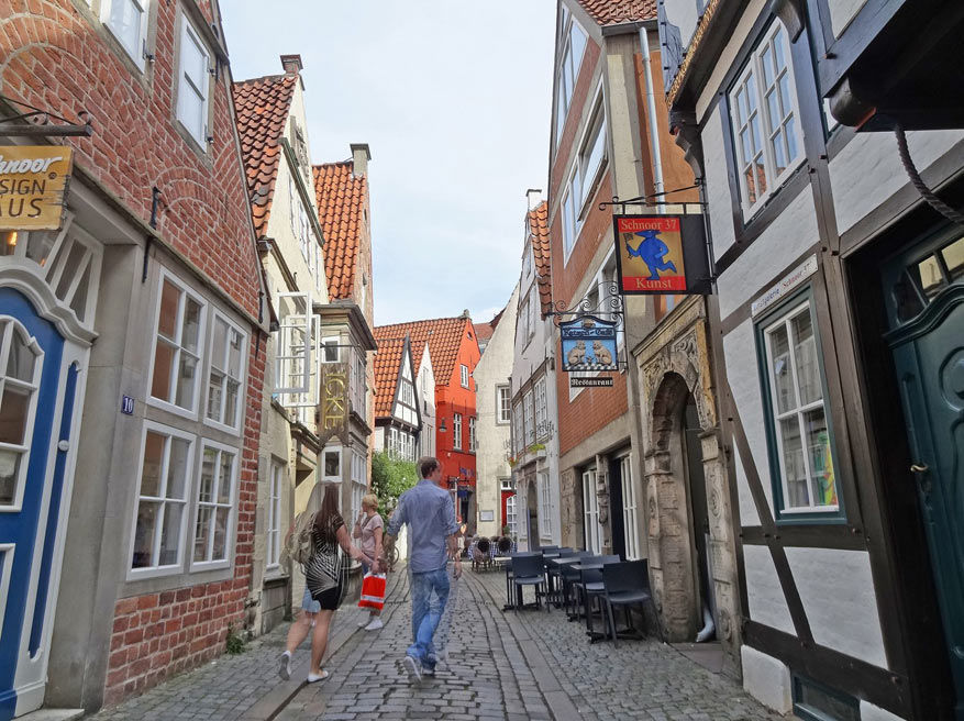 De oudste wijk van Bremen, Schnoor, telt heel wat pittoreske huisjes.