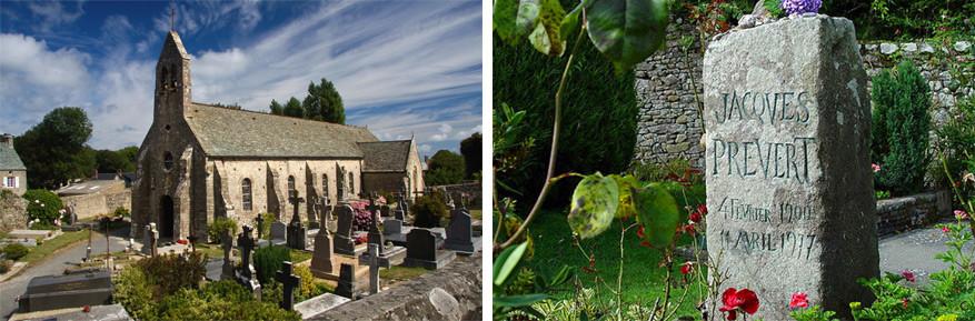 La Hague: in Omonville-La-Petite kan je het graf van Jacques Prévent bezoeken