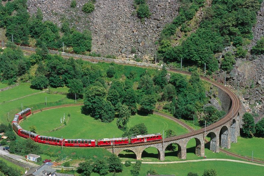 Het keerlusviaduct. © Toerisme Zwitserland