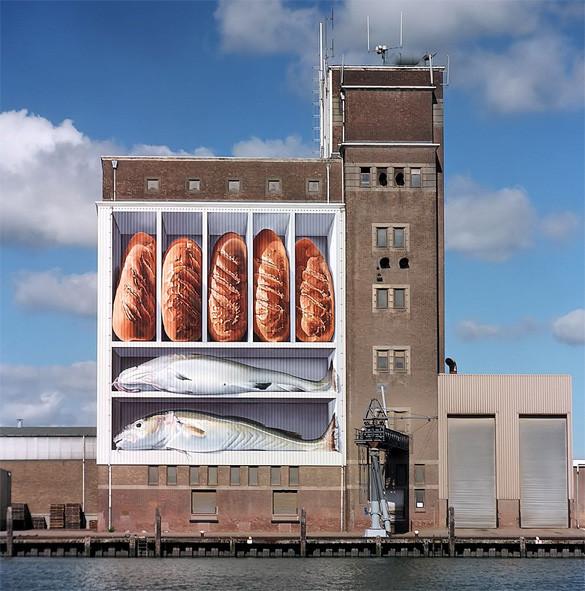 Breskens: kunst van Johnny Beerens, op de graansilo aan de haven. © Museum Breskens