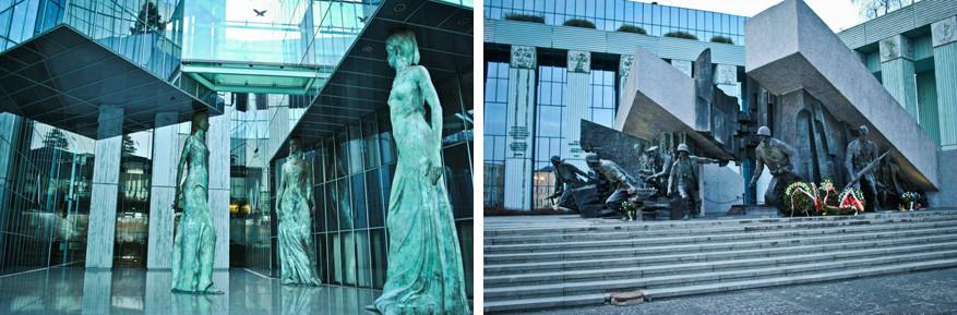 Aan het jusititiegebouw met bijzondere architectuur vind je het monument dat herinnerd aan de opstand tegen de Nazi's eind WO II.