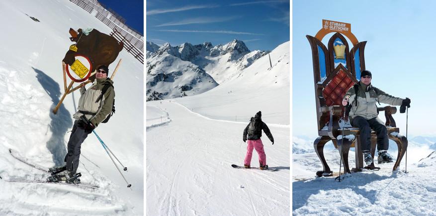 'Bruno de beer' en kiekjes op de troon of op het board in Wildspitze, Stubaital