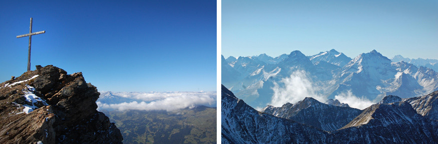 Op de top van Parpaner Rothorn. Het uitzicht maakt ons sprakeloos!