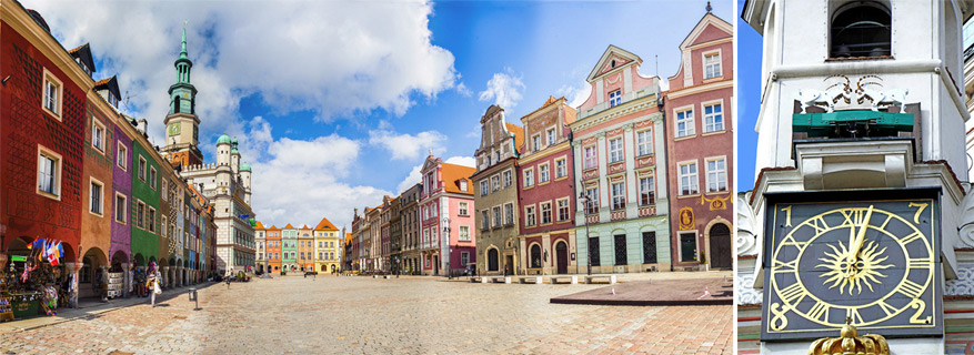 De markt van Poznan, Stary Rynek met de geitjes bij de klok op het stadhuis. © Sakuto via Flickr Creative Commons | © Dennis Jarvis via Flickr Creative Commons