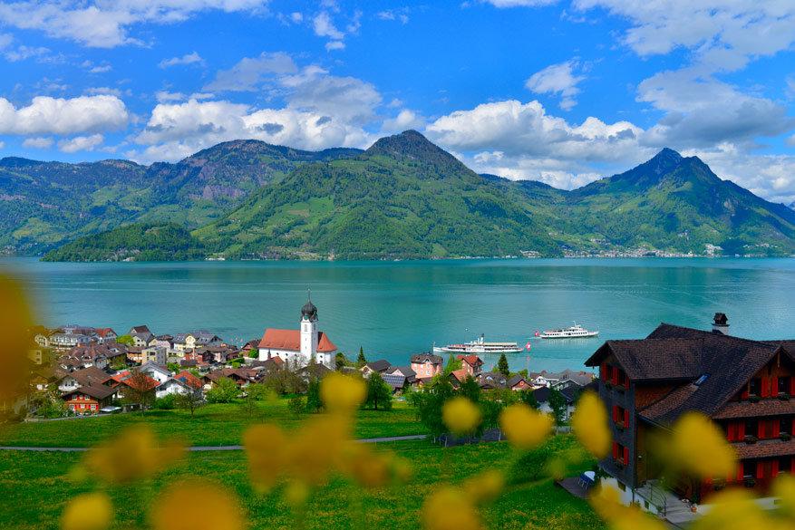 Vanuit Luzern, de hoofdstad van het gelijknamige kanton, is de berg Rigi makkelijk te bereiken.