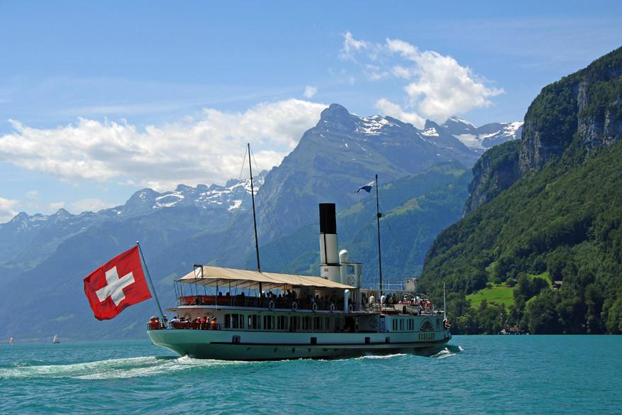 De stoomboot in Luzern.