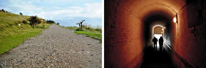 Wandelen gaat op de kliffen of door de tunnels.