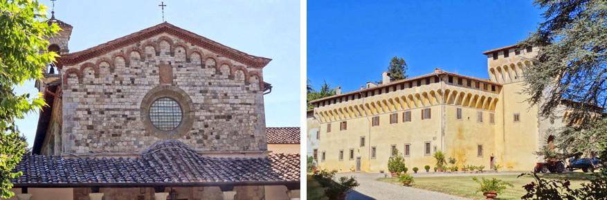 Het klooster Bosco ai Frati links en Villa di Caffagiolo rechts.