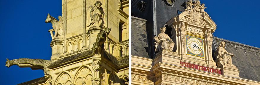 Details van de kathedraal (links) en het gemeentehuis (rechts).