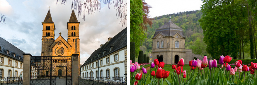 Echternach met links de St. Willibrord basiliek en rechts de paviljoenen in het stadspark. © G.R Fotografie | © Jaypchances