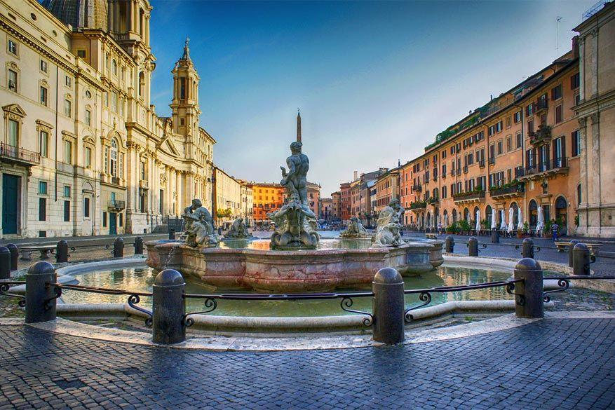 Wandelen in Rome: het Piazza Navona met de vierstromenfontein