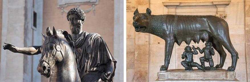 Wandelen in Rome: links het beeld van Marcus Aurelius en rechts de wolvin met Remus en Romelus