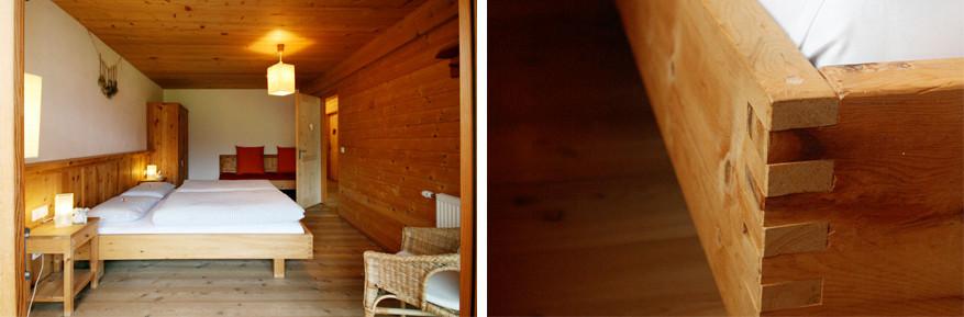Het hout bij Villa Natur zou een ontspannende werking hebben.