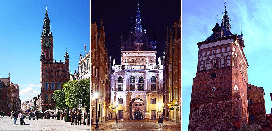 Gdańsk: het voormalige raadhuis, de Gouden Poort en de oude gevangenis Przedbramie