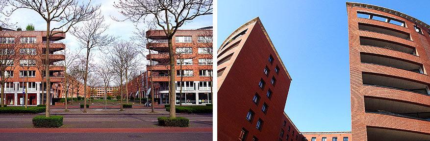 Maastricht: op de Avenue Céramique staan appartementsblokken ontworpen door Bruno Albert en La Fortezza.