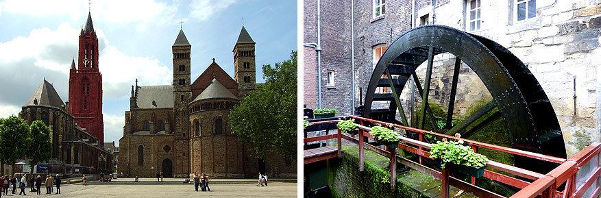 Maastricht: de Sint Servaasbasiliek en de rode Sint Janskerk, daarnaast de molen van speltbakkerij Bisschopsmolen