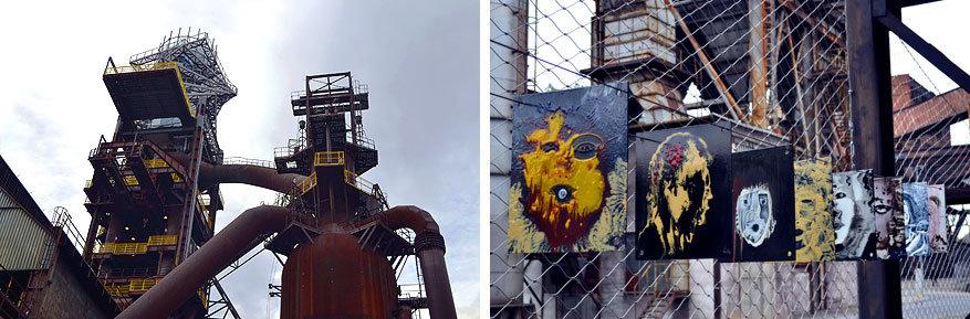 Moravië-Silezië: kunst in ijzerfabriek NKP Důl Hlubina