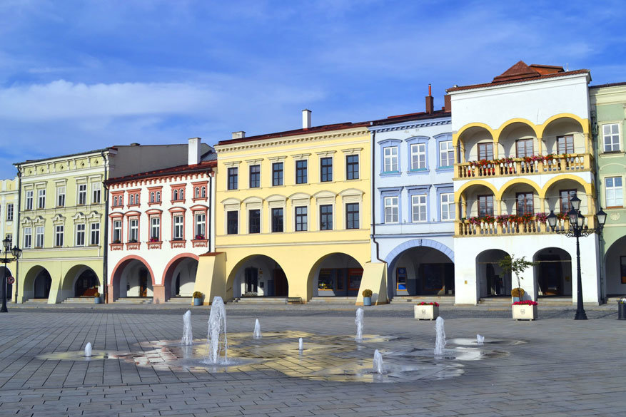 Moravië-Silezië: plein van Nový Jičín
