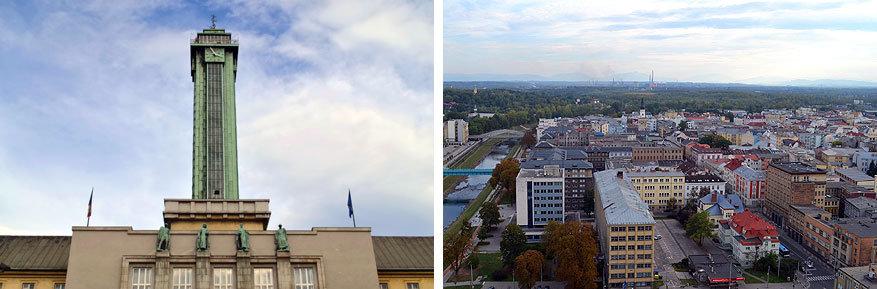Moravië-Silezië: uitzicht op Ostrava vanop de toren van het nieuwe stadhuis