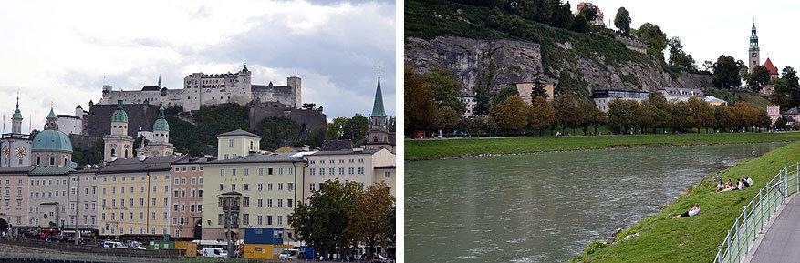 Salzuburgerland: van af de oevers van de Salzach is de Hohensalzburg vesting goed te zien
