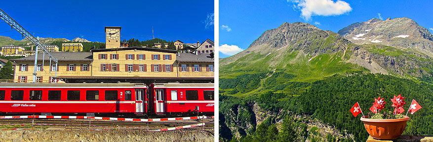 Sankt Moritz en Engadin: de trein brengt je van Sankt Moritz naar Alp Grüm