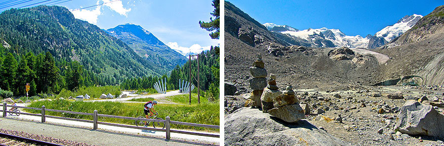 Sankt Moritz en Engadin: de vallei en de gletsjer van Morteratsch