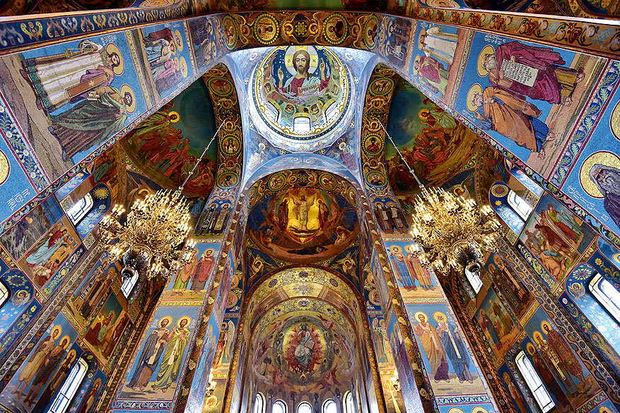 Sint-Petersburg: de binnenkant van de bloedkathedraal