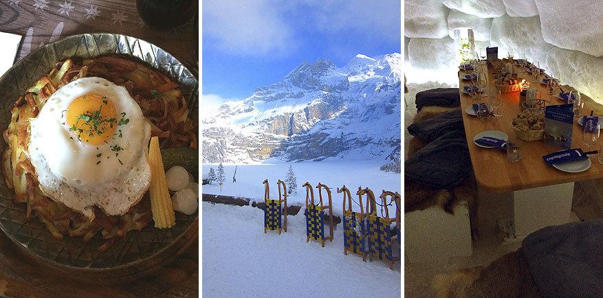 Adelboden-Lenk: de lunch in Walleg-Stube, sleeën en kaasfondue in de iglo