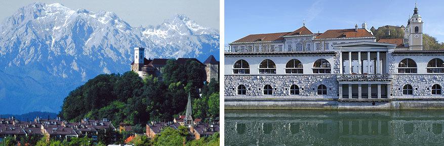 Ljubljana: links het kasteel van Ljubljana en rechts de centrale markt