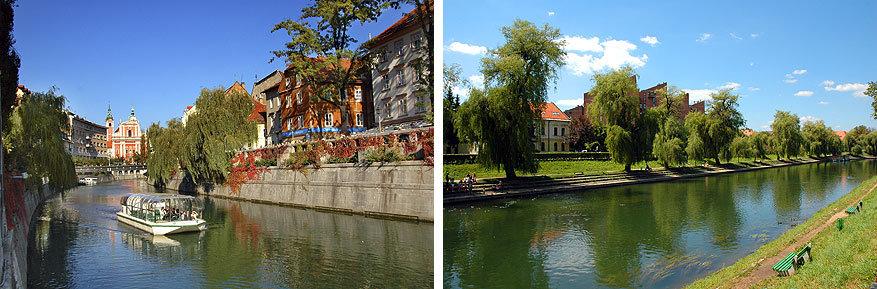 Ljubljana: de Ljubljanica rivier met afgewerkte oever en rijen bomen