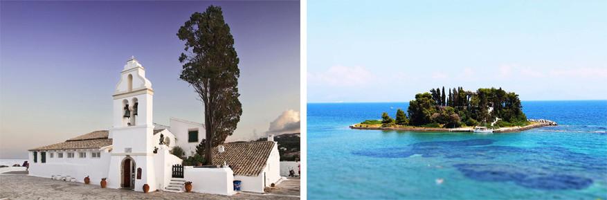 Korfoe: links het klooster Vlacherna en rechts het muizeneiland Pontikonissi