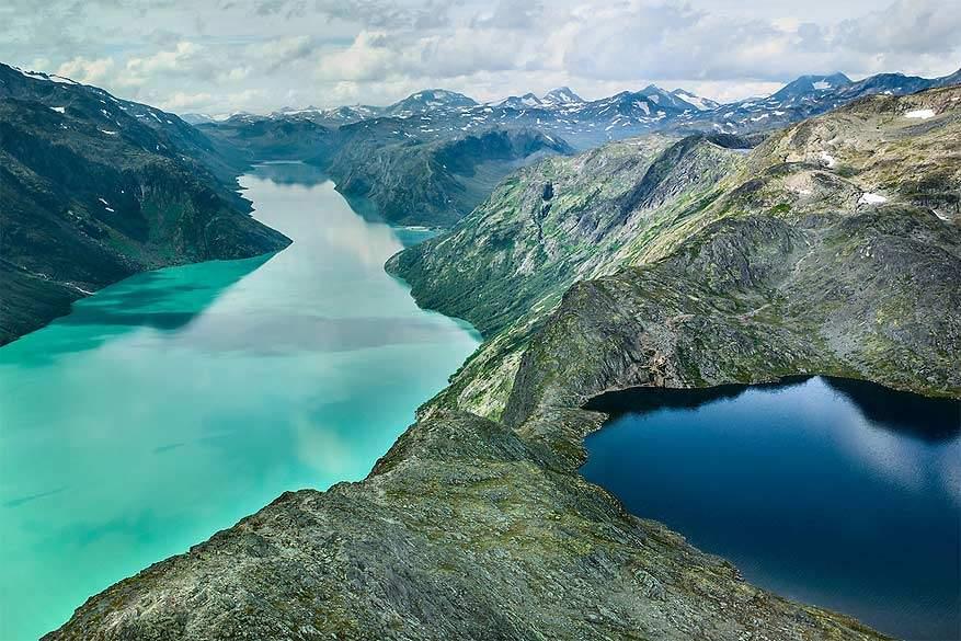 Scandinavië: het Gjendemeer en Bessvatnetmeer in Jotunheimen