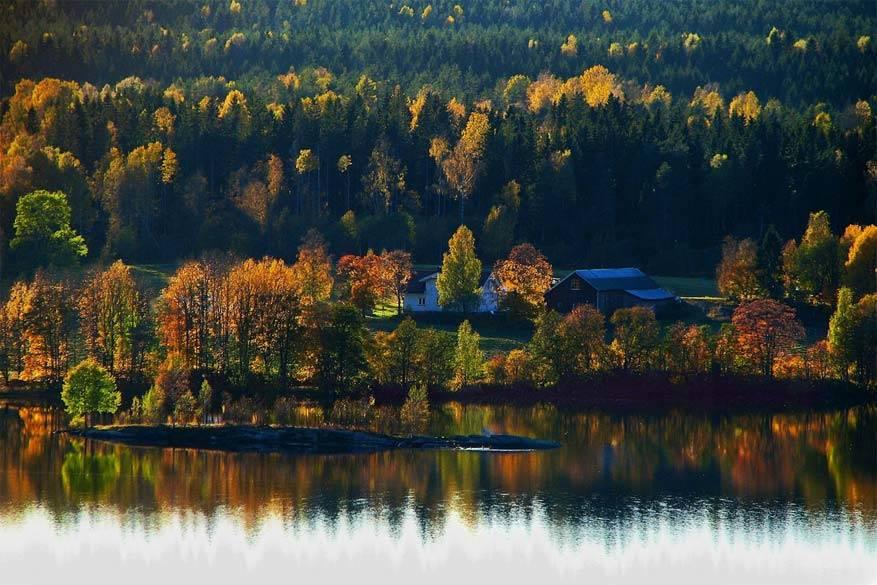 Scandinavië: het Maridalsvannetmeer in Oslo