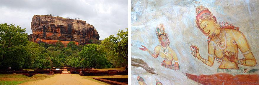 Sri Lanka: de Sigiriyarots met de fresco's van de wolkenmeisjes