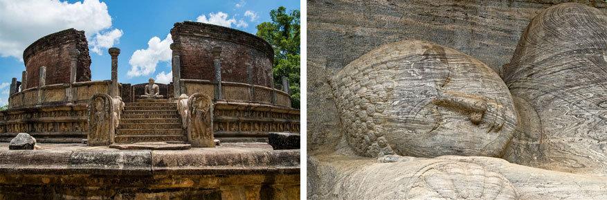 Sri Lanka: het paleis van koning Pararakramabahu en het liggende beeld van Boeddha