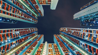 Gestapelde architectuur in Hongkong