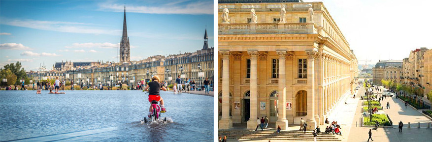 Bordeaux: links de waterspiegel en rechts het Grand-Théâtre