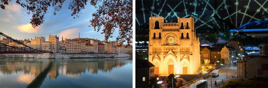 Lyon: links de wijk Vieux-Lyon en rechts Mini World Lyon