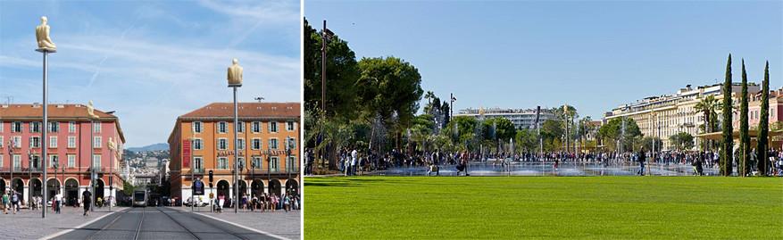 Nice: links Place Massena dat kruist met de Avenue Jean Médecin en rechts de Promenade du Paillon