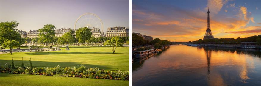 Parijs: links de Jardin des Tuileries en rechts de SeineParijs: links de Jardin des Tuileries en rechts de Seine