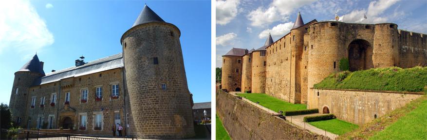 Franse Ardennen: links het kasteel van l'Echelle en rechts de vesting van Sedan