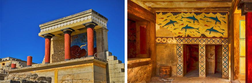Kreta: kleurrijke architectuur in Knossos