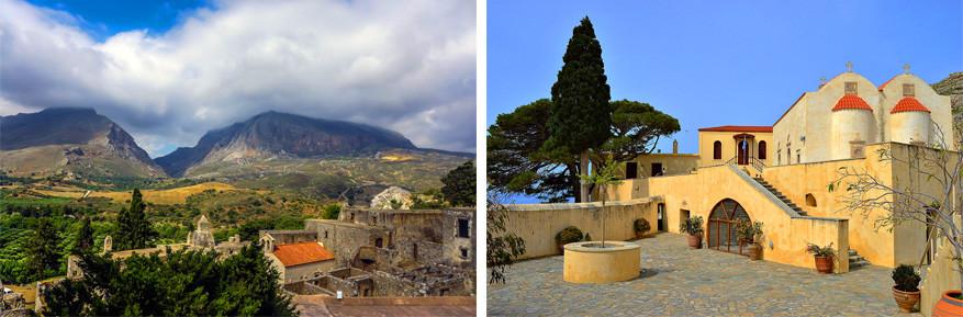 Kreta: links de ruÏne van het Kato Moni en rechts het Piso Moni