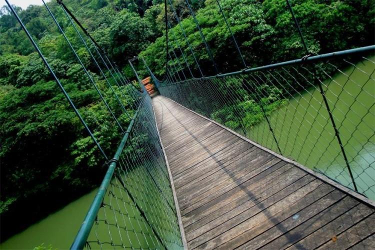 Hangbrug in Thenmala, India: Thenmala is een goed geconserveerd bosgebied in het Kollam District aan de voet van het westelijke Ghatgebergte. De 400 meter lange hangbrug over de Kallada rivier werd gebouwd in 1877 en is de enige van zijn soort in het zuiden van India. © Creative Commons