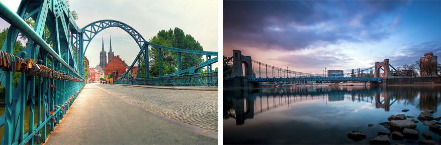 Wroclaw: links de Tumskibrug en rechts de Grunwaldzkibrug