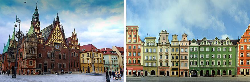 Wroclaw: links het Raadhuis en rechts de gekleurde gevels op het Marktplein